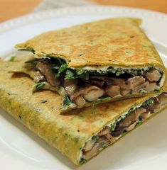 Mushroom quesadilla with soft, melty goat cheese and dark leafy greens. #vegetarian [ThePerfectPantry.com]
