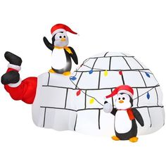 LIGHTED 7 FT ANIMATED SANTA STUCK IN IGLOO CHRISTMAS AIRBLOWN  INFLATABLE YARD