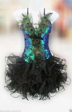 Da NeeNa M145 Peacock Angel Feather Showgirl Vegas Stage Dance Dress XS-XL #DaNeeNa #Dress