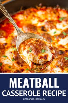 Simple 5-Ingredient Cheesy Meatball Casserole -- this easy meatball casserole boasts just 5 ingredients, yet is still packed with flavor… Serve it as is, over pasta, or on sandwich rolls for a versatile weeknight dinner! | meatball casserole recipe | baked meatball casserole | italian meatball casserole | meatball casserole weeknight meals #meatballcasserole #meatballs #meatballrecipes #meatballrecipeseasy #casserole #casserolerecipeseasy #casseroledishes #easyrecipe #easydinner… Pork Recipes, Lunch Recipes, Dinner Recipes, Cooking Recipes, Hamburger Recipes, Family Recipes, Family Meals, Easy Recipes, Easy Casserole Recipes
