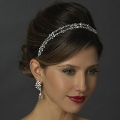 Silver Rhodium Clear Swarovski Crystal Bead & Rhinestone Double Headband Headpiece 3692