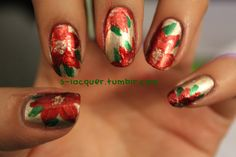 Poinsettias by s-lacquer.      25 Days of Christmas!Day 23: Poinsettias