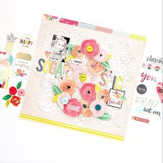 Those beautiful florals are eye-catching and so perfect for the focal element of a layout. PC: @ashleyhorton75 #pinkpaislee #ppfancyfree