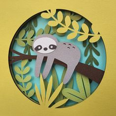 Sloth Cut Your Own DIY Layered Shadow Box Papercutting Template Printable PDF With Step-by-Step Tutorial 3d Paper Art, Paper Artwork, Paper Cut Out Art, A4 Paper, Cute Crafts, Diy And Crafts, Paper Crafts, 3d Cuts, Cut Paper Illustration