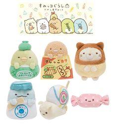 6pcs Set San-X Sumikko Gurashi Tenori Plushies Dagashiya Sweets Shop Cute Kawaii