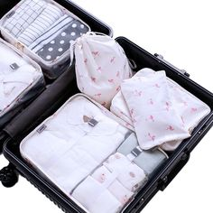 Cute Hares With Balloons 3 Set Packing Cubes,2 Various Sizes Travel Luggage Packing Organizers j