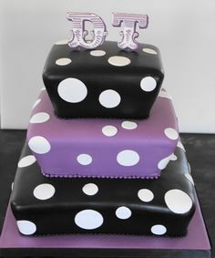 Black purple wedding cakes