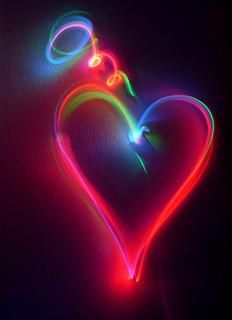 music, hands, heart shapes, queen of hearts, rainbows, rainbow colors, happy heart, light, neon heart