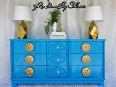 Vintage Hollywood Regency Media Console/Dresser/Credenza//Sideboard Custom  Painted Ready For Shipment