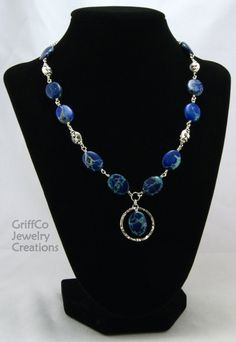 Blue Impression Jasper and Hammered Sterling by GriffCoJewelry, $67.00
