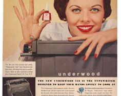 Vintage Underwood Typewriter Ad 1955 Collectible Paper Ephemera 1950's Secretaries Red Nail Polish