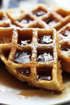 Dutch Cream Waffles by Creme De La Crumb Breakfast Waffles, Breakfast Dishes, Breakfast Recipes, Breakfast Ideas, Breakfast Time, Dutch Waffles, Belgian Waffles, Little Lunch, Dutch Recipes