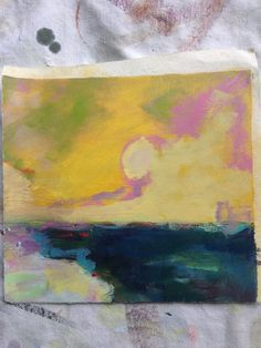 Yellow Sky - Original Oil on Paper - Made in Maine by theRandoMshoE on Etsy