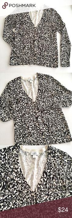 Selling this LOFT Abstract Animal Print Career Cardigan S1 on Poshmark! My username is: braziljen05. #shopmycloset #poshmark #fashion #shopping #style #forsale #LOFT #Sweaters