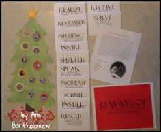 The 12 WAYS of Christmas- ways to become like Christ. Great YW gift for next year.