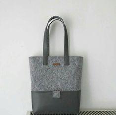 Handmade Grey, Felt Tote Bags, Grey Color Leather Handle, Huge Leather Bottom Pockets, Felt Shopper, Shoulder Bag, Zipper Bag