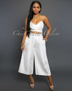 Chic Couture Online - Tina White Sheen Strapless Capri Jumpsuit, (http://www.chiccoutureonline.com/tina-white-sheen-strapless-capri-jumpsuit/)