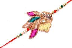 Rakhi Handmade Multi Hue Zari, Zircon, and pearls Rakshabandhan Wristband India #StoreUtsavFashion #Beaded