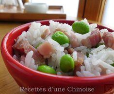Recettes d'une Chinoise: Utiliser le rice cooker pour faire un plat complet : riz au jambon séché et edamame 毛豆腊肉饭 máodòu làròu fàn