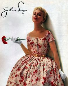 1950's - jonathan logan floral party dress full skirt 50s red white color photo 50s model