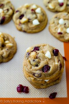 Oh. My. God. No, seriously. Her secret is cornstach--it makes them thick and chewy instead of flat and flimsy. I will be using her base recipe for every cookie i make from now on! Perfect Christmas Cookie: White Chocolate Chip Cranberry Cookies. Thick, .