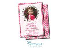 chevron pink glitter birthday invite by GreyhoundGraphics on Etsy