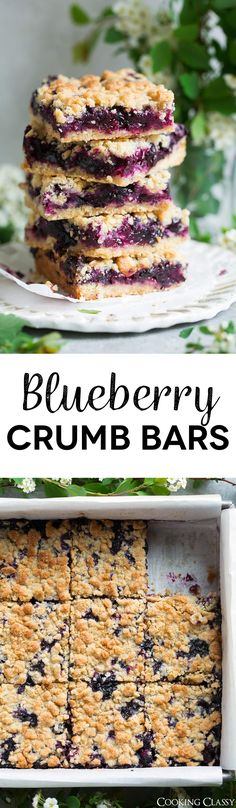 Blueberry Crumb Bars - one of the BEST summer desserts! Here a crisp, buttery cookie-like crumb sandwiches a sweet, fresh, juicy blueberry filling and these things just couldn't get any better! They're the perfect use for all those fresh summer blueberries. I've been making them for years and everyone always loves them! via @cookingclassy