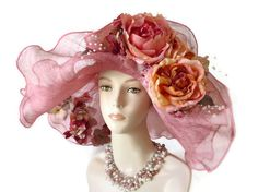 I'd wear it, if i were going to the Derby!  Kentucky Derby hat pink sinamay Easter hat by IfTheHatFitsByJackie, $125.00