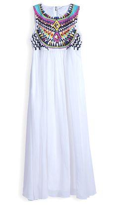 White Sleeveless Embroidery Pleated Chiffon Dress with Embroidery Detailing