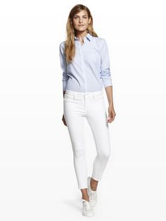 DL1961 Florence Cropped White High Waist Skinny Jean