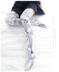 [leggycozy] Kawaii Anime Cartoon Printed Velvet Cosplay Stockings Kawaii Makeup, Aesthetic Anime, Kawaii Anime, Otaku, Gothic, Stockings, Velvet, Cosplay, Cartoon