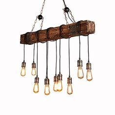 Willa Arlo Interiors Vintage Retro Pendant Lamp Chandelier Solid Wood Adjustable Metal Chains Industrial Größe: 12 cm H x 95 cm B x 120 cm T Wood And Metal, Solid Wood, Lampe Retro, How To Wear Ankle Boots, Metal Chain, Kitchen Lighting, Pendant Lamp, Decoration, Retro Vintage
