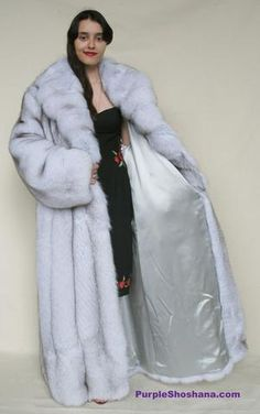 This plush fluffy blue fox coat is brand new. Features fine quality top grade fully let out blue fox pelts, large sweep, large shawlcollar, 2 side pockets and furrier hooks for closure. Can fit size L/XL and we can provide in all sizes, please ref. Fox Fur Coat, Warm And Cozy, Sexy Women, Plush, Purple, Stylish, Naked, Womens Fashion, Model