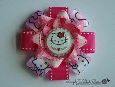 "Pink Kitty loopy hair bow - 3"" - pinned by pin4etsy.com"