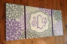 large nursery art- personalized triptych painting- name monogram initials- M2M decor- purple lavender grey flowers