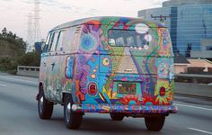 Remember the way we were :) ... A particularly fine example of hippie painting on a VW microbus. A museum might want this car (Wikipedia photo)