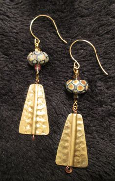 Lampwork beads with hand hammered brass basses. Earring Display, Assemblage Art, Small Art, Lampwork Beads, Designer Earrings, Jewlery, Glass Beads, Jewelry Making, Bronze