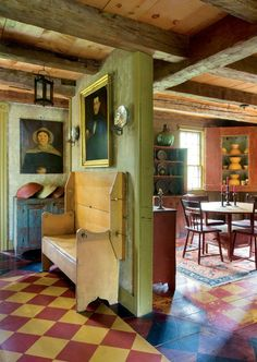 American Colonial Living Rooms | Vintage Industrial Style