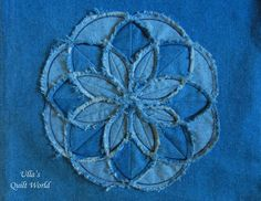 Ulla's Quilt World: Flower cushion cover, TUTORIAL for a flower - quilt Jean Crafts, Denim Crafts, Denim Flowers, Fabric Flowers, Rag Quilt, Quilt Blocks, Blue Jean Quilts, Sewing Crafts, Sewing Projects