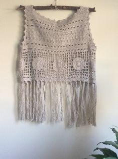 2d3e74155fba5 Crochet fringe vest.Knit sweater.Summer boho top.Fringe cardigan.Cotton top.Handmade  Festival vest.Beach cover up.Off-white vest.Hippie top