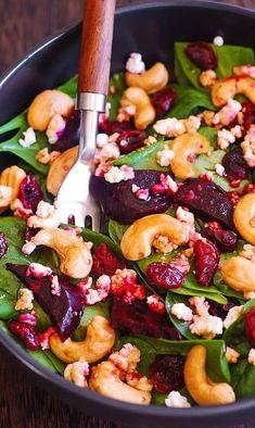 Beet Salad With Feta, Roasted Beet Salad, Beet Salad Recipes, Salads With Beets, Pomegranate Salad, Salmon Recipes, Smoothie Recipes, Salade Healthy, Healthy Salads