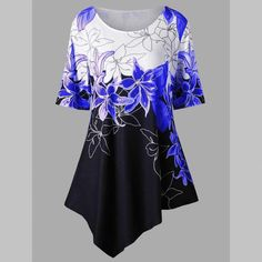 Women Floral Printed Dress Casual Summer Short Sleeve Asymmetrical Shirt Dress Plus Size Mini Dresses Ladies Sundress Tops Long Tunic Tops, Shirt Bluse, Leggings, Plus Size Blouses, Summer Dresses For Women, Casual Tops, Half Sleeves, Blouses For Women, Women Tunic