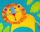 Lion art, Original, Jungle art, Kids art, Nursery art, Original jungle art, Lion collage, Whimsical lion art, 7 x 5 original kids art