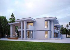 Projekt nowoczesnego domu o powierzchni aż 644.05 m². Na parterze znajduje się między innymi pomieszczenie przeznaczone na saunę, dwie garderoby czy pomieszczenie higieniczno-sanitarne.