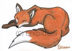 ACEO print sleeping red fox - cute forest animal - furry illustration - woodland artwork. €2.05, via Etsy.