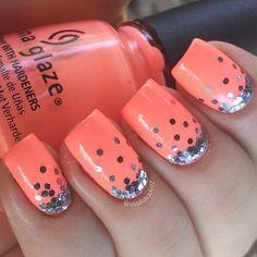 Peach nails. Orange. China glaze. Nail Art. Nail Design. Polishes. Polish. Polished. Instagram  by crisalvarado17
