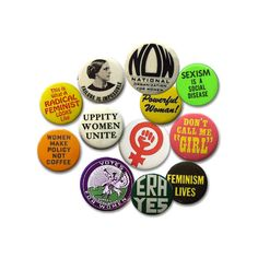 Feminist Buttons ❤ liked on Polyvore featuring fillers, accessories, buttons, jewelry and misc