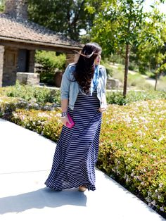 Wearing stripes (again) on the blog today! :) http://www.curvygirlchic.com  #plussize #fashion #ootd #wiwt Curvy Girl Chic Plus Size Fashion Blog Striped Maxi Dress Outfit