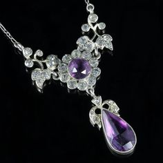 Diamond, Pearl and Antique Pendant Necklaces - For Sale at Pearl Pendant Necklace, Amethyst Pendant, Silver Necklaces, Flint Glass, Beautiful Necklaces, Diamond Jewelry, Antique Jewelry, Jewelery, Jewelry Design