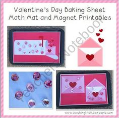Valentine's Day Printables for Cookie Sheet Math Mat and Glass Marbles product from TeachingtheLittlePeople on TeachersNotebook.com